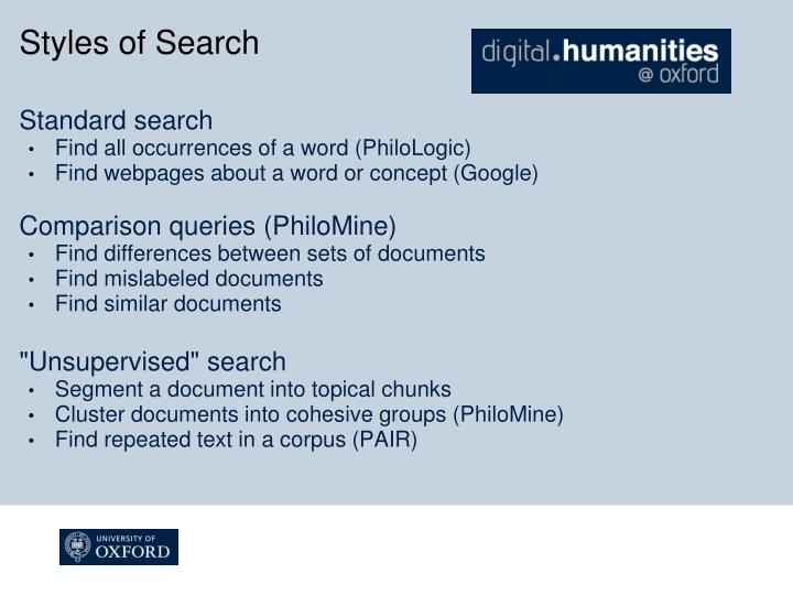 Styles of Search