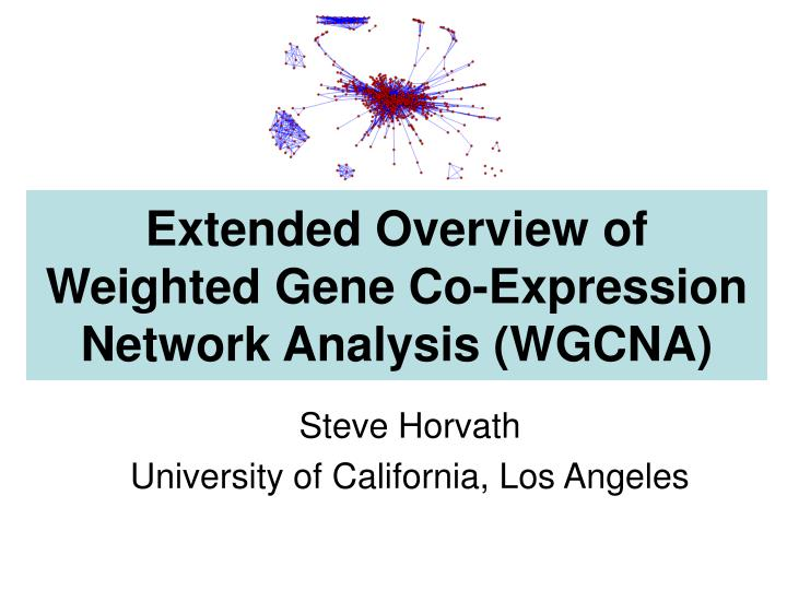 Extended overview of weighted gene co expression network analysis wgcna