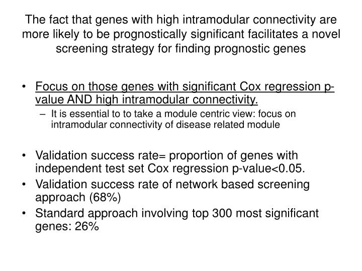 The fact that genes with high intramodular connectivity are more likely to be prognostically significant facilitates a novel screening strategy for finding prognostic genes