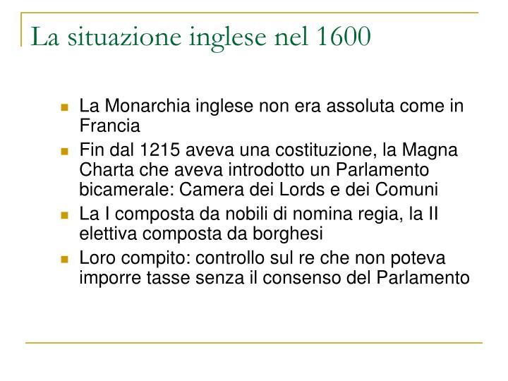 La situazione inglese nel 1600