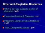 other anti plagiarism resources