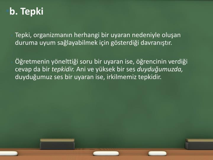 b. Tepki