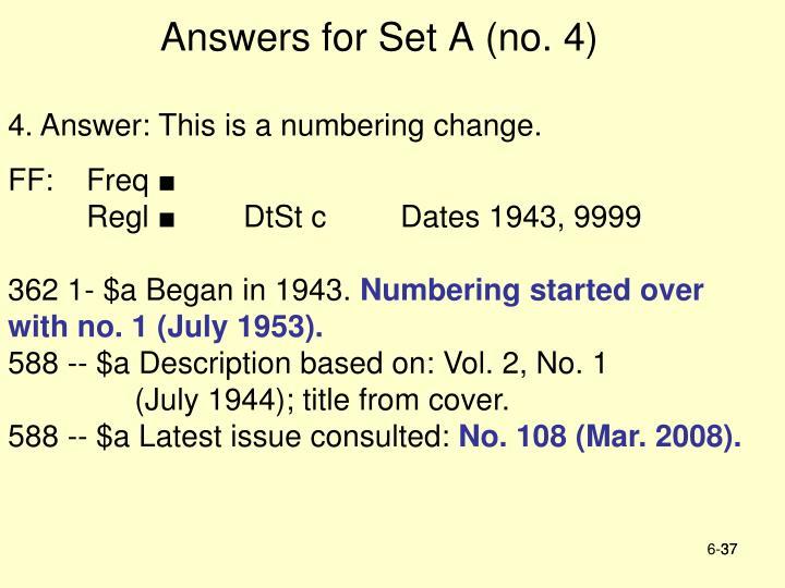 Answers for Set A (no. 4)