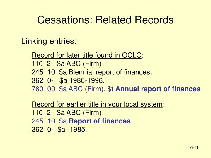 Cessations: Related Records