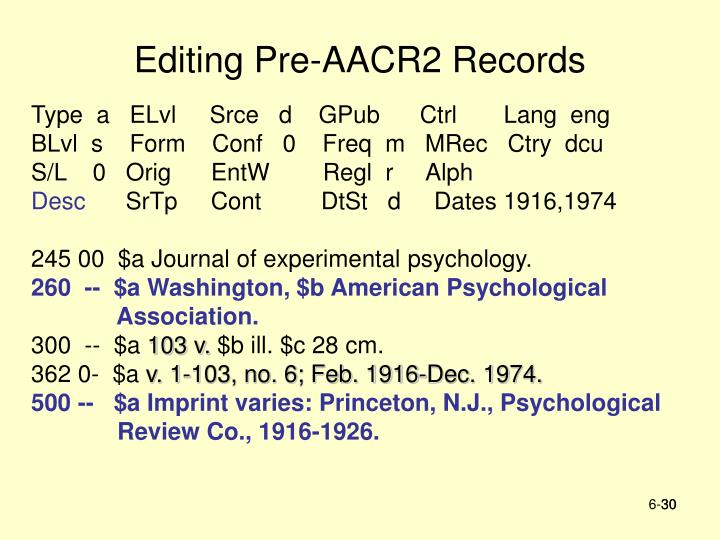 Editing Pre-AACR2 Records
