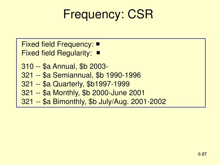Frequency: CSR
