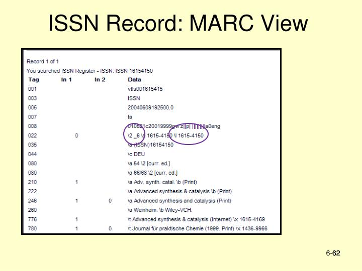 ISSN Record: MARC View