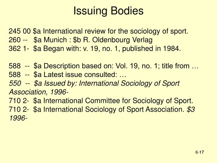Issuing Bodies