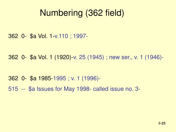 Numbering (362 field)