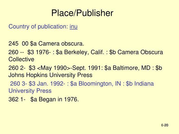 Place/Publisher