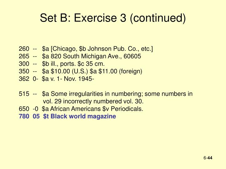 Set B: Exercise 3 (continued)
