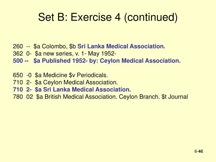 Set B: Exercise 4 (continued)