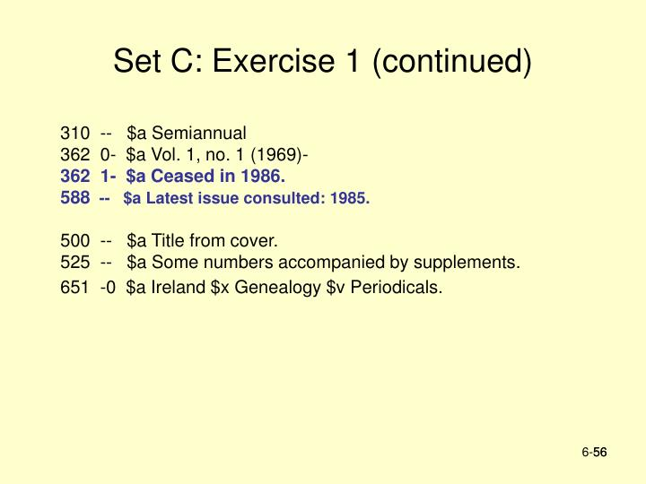 Set C: Exercise 1 (continued)
