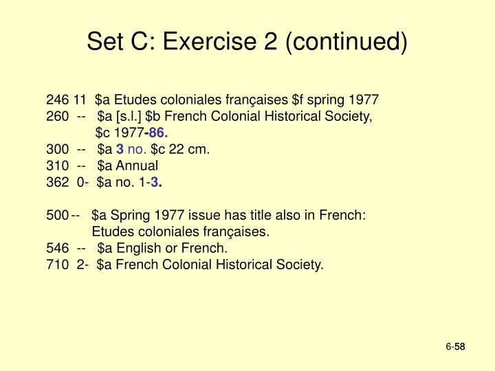Set C: Exercise 2 (continued)