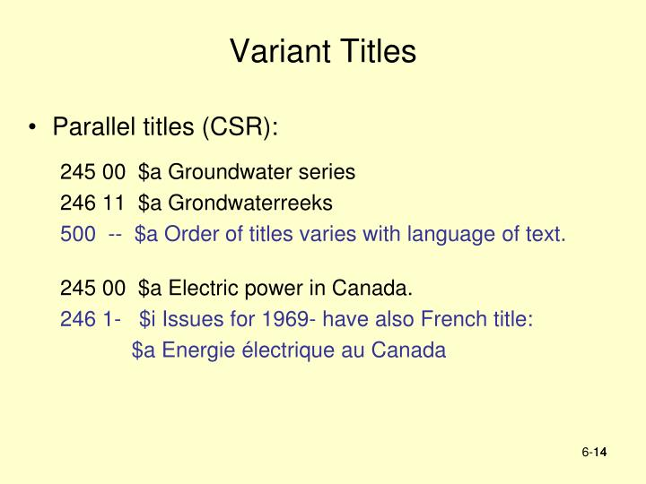 Variant Titles