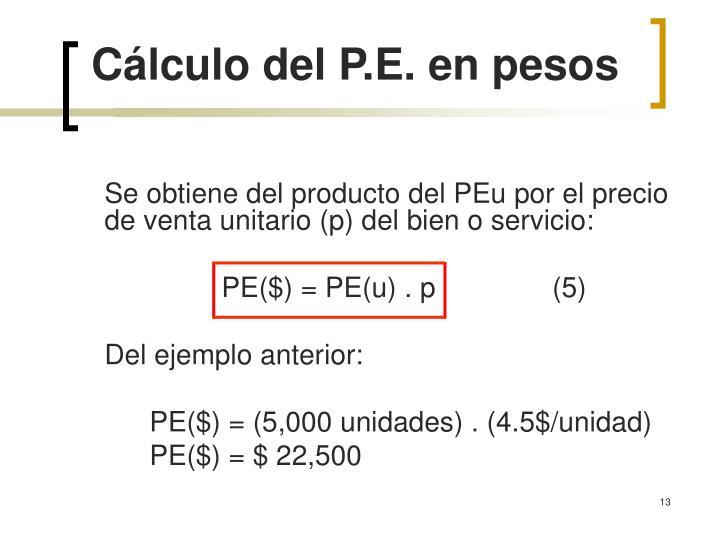 Cálculo del P.E. en pesos