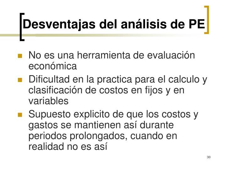 Desventajas del análisis de PE