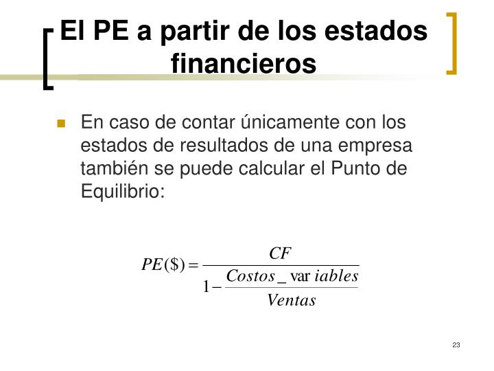 El PE a partir de los estados financieros