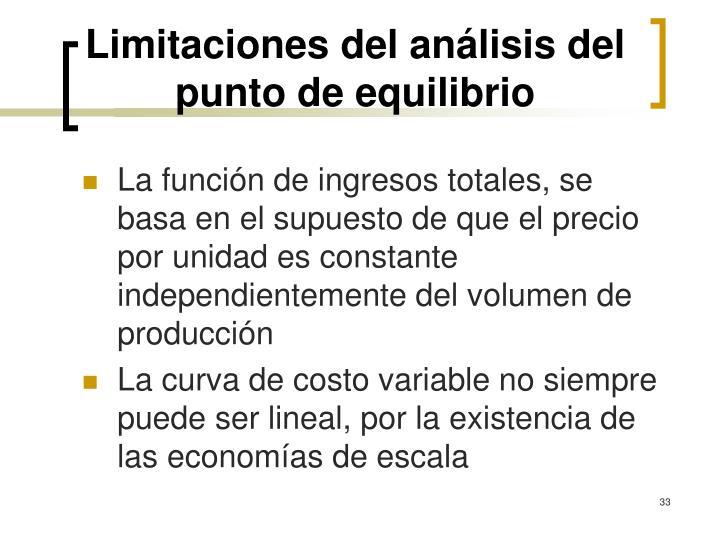Limitaciones del análisis del punto de equilibrio