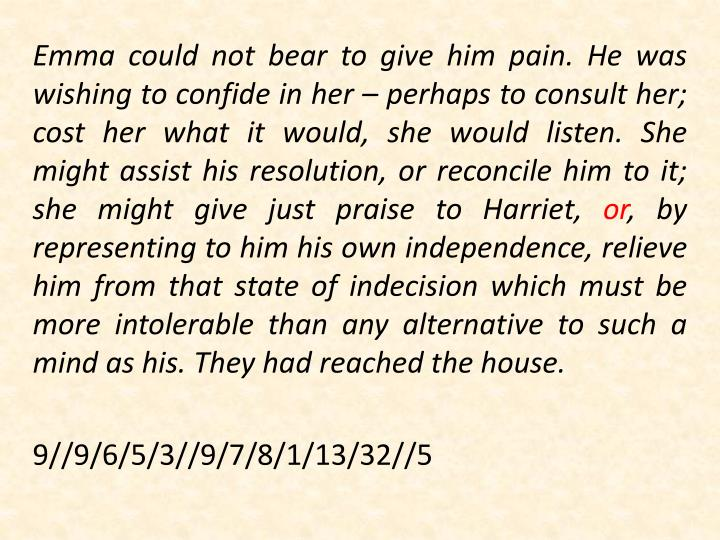 Emma could not bear to give him pain. He was wishing to confide in her – perhaps to consult her; cost her what it would, she would listen. She might assist his resolution, or reconcile him to it; she might give just praise to Harriet,
