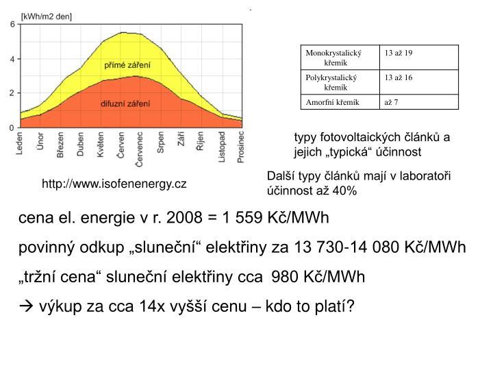 """typy fotovoltaických článků a jejich """"typická"""" účinnost"""