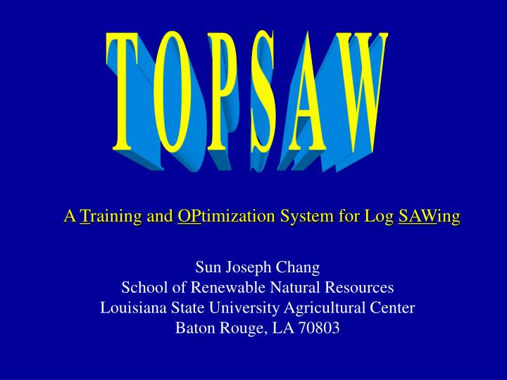 a t raining and op timization system for log saw ing n.