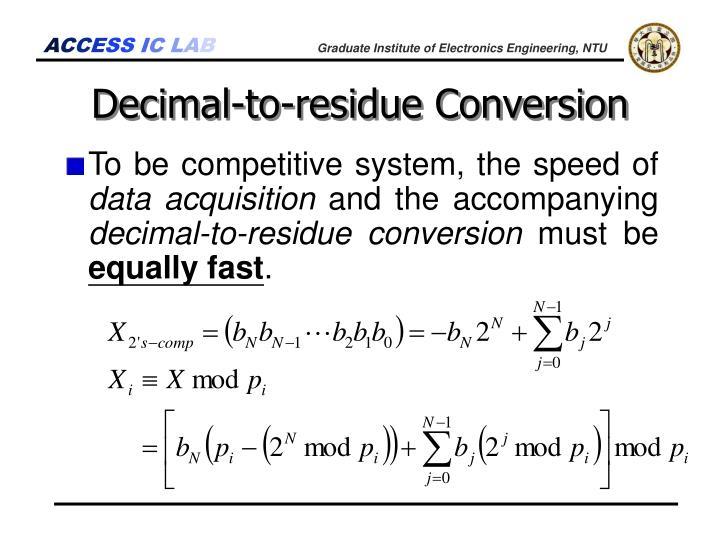 Decimal-to-residue Conversion