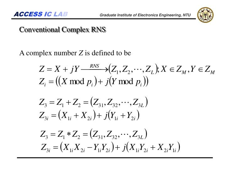 Conventional Complex RNS