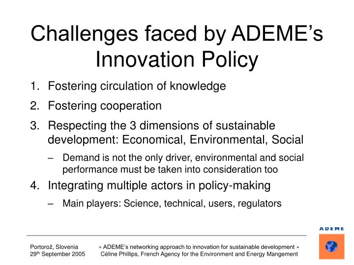 Challenges faced by ADEME's