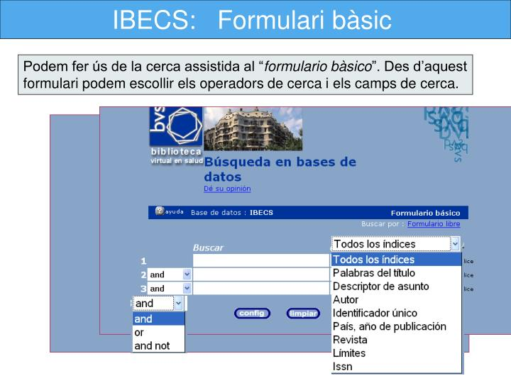 IBECS:   Formulari bàsic