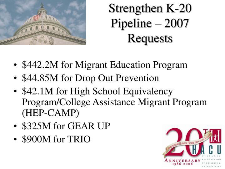Strengthen K-20 Pipeline – 2007 Requests