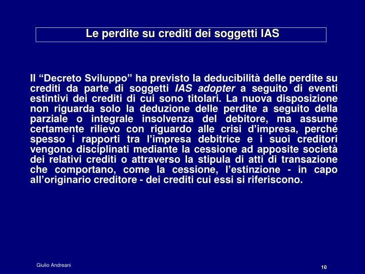 Le perdite su crediti dei soggetti IAS