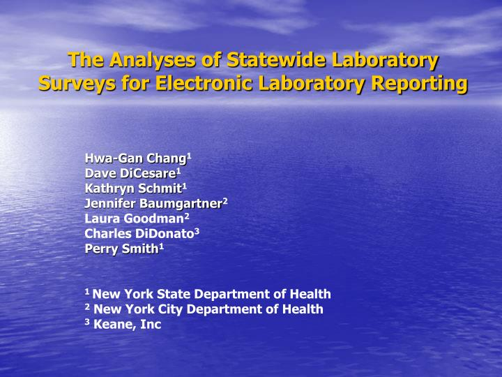 the analyses of statewide laboratory surveys for electronic laboratory reporting n.