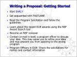 writing a proposal getting started