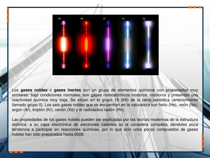 Ppt unidad 3 elementos qumicos y periodicidad powerpoint normales son gases monoatmicos inodoros incoloros y presentan una reactividad qumica muy baja se sitan en el grupo 18 8a de la tabla peridica urtaz Choice Image
