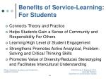 benefits of service learning for students