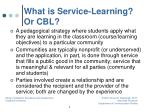 what is service learning or cbl