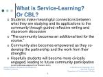 what is service learning or cbl1