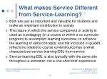 what makes service different from service learning
