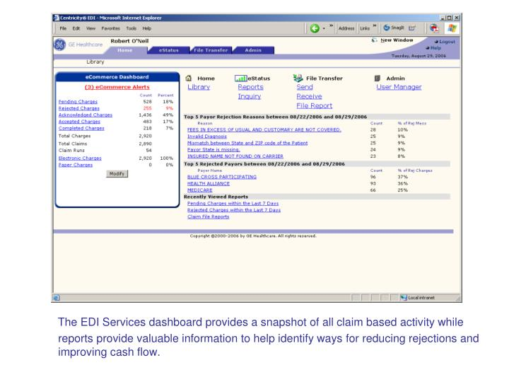 The EDI Services dashboard provides a snapshot of all claim based activity while reports provide valuable information to help identify ways for reducing rejections and improving cash flow.