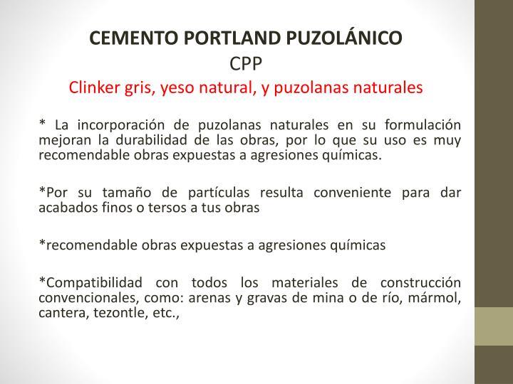 CEMENTO PORTLAND PUZOLÁNICO