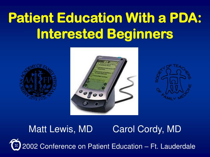 patient education with a pda interested beginners n.