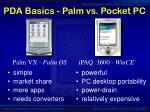 pda basics palm vs pocket pc