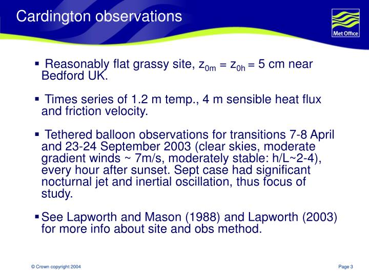 Cardington observations