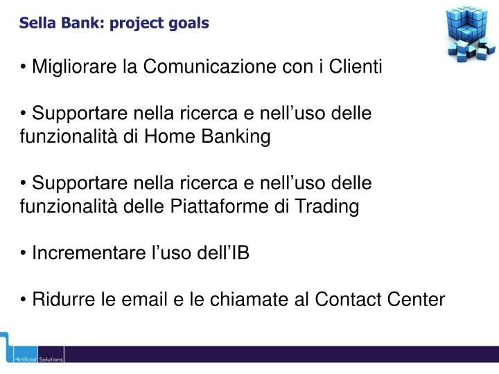 Sella Bank: project goals