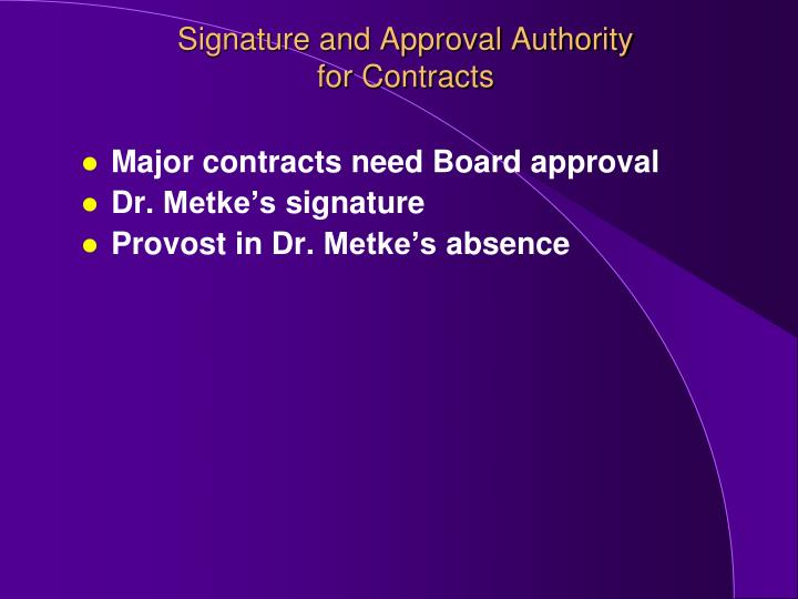 Signature and Approval Authority