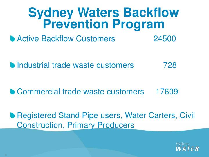 Sydney Waters Backflow Prevention Program