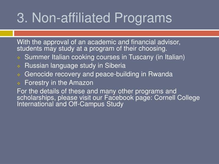 3. Non-affiliated Programs