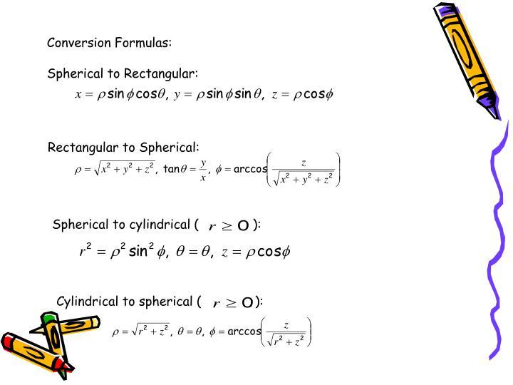 Conversion Formulas: