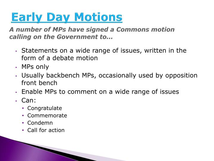 Early Day Motions